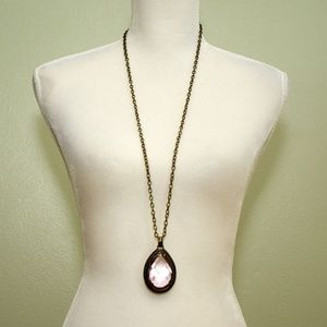 Chico's Large Faceted Crystal Pendant Necklace